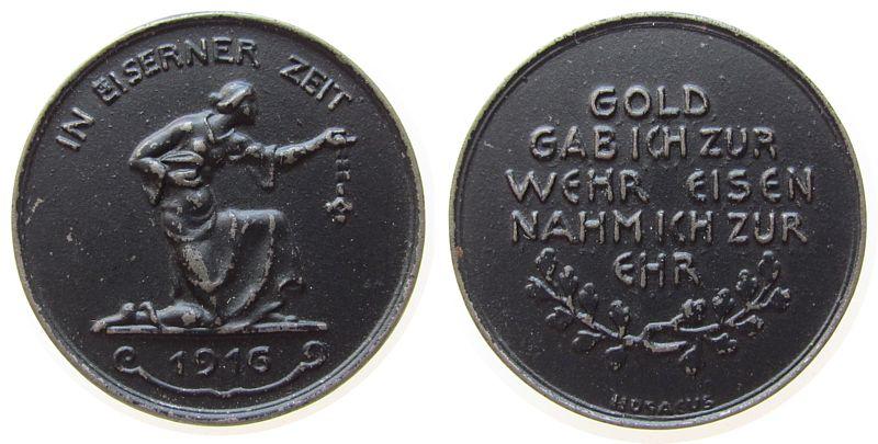Spendenmedaille 1916 erster Weltkrieg Eisen in eisener Zeit..Gold gab ich Wehr, Eisen nahm ich zur Ehr, von Hosaeus, ca. 40 MM vz