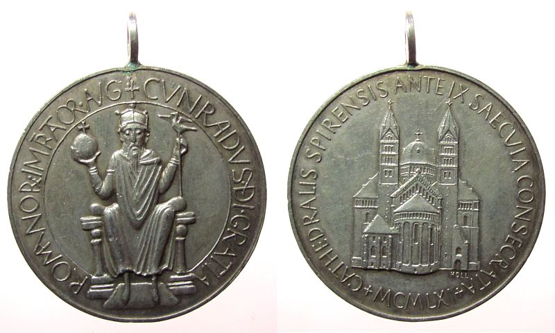 tragbare Medaille 1961 Speyer Silber Speyer - 900jähriges Weihejubiläum des Domes, Kaiser Konrad II / Dom, v. Prof. Albert Holl, ca. 40 MM, ca. 25,72 Gramm, n ss-vz