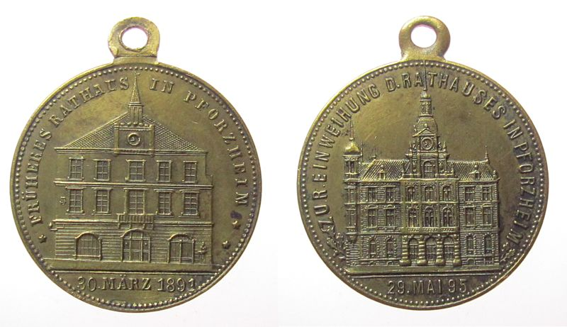 tragbare Medaille 1895 Städte Bronze Pforzheim - auf die Einweihung des neuen Rathauses, altes Rathaus / neues Rathaus, ca. 29 MM ss+