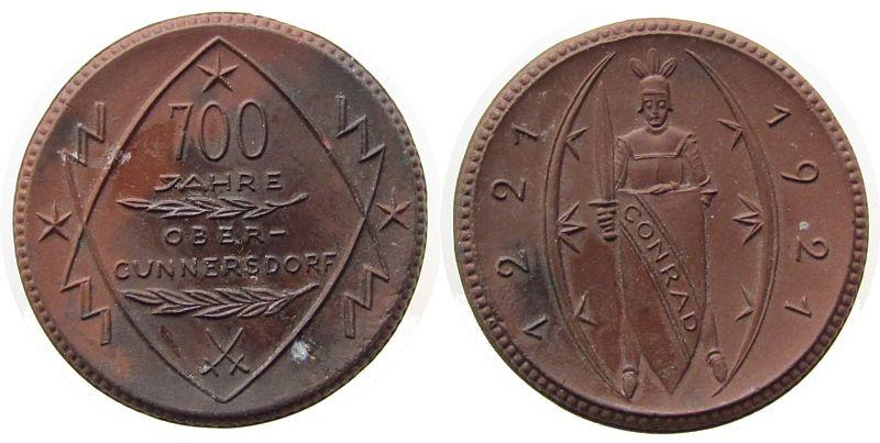 Medaille 1921 Porzellan Böttger Steinzeug Obercunnersdorf 700 Jahre, ca. 41,8 MM, fleckig vz