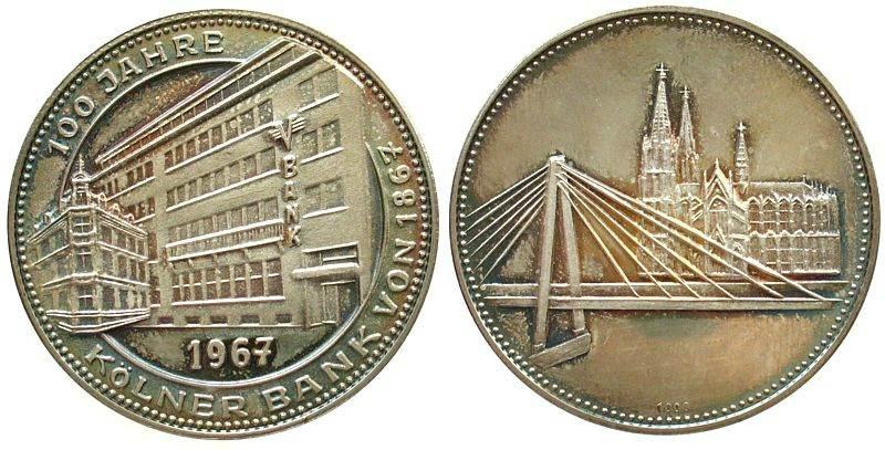 Medaille 1967 Köln Silber Kölner Bank Auf Die 100 Jahrfeier Der