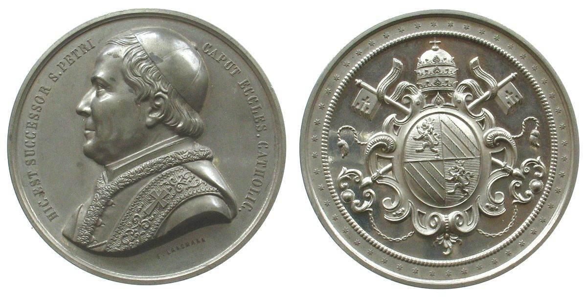 Medaille o.J. Vatikan Zinn Pius IX (1846-1878), Brustbild nach links / Wappen, v. F. Langmann, ca. 60,3 MM, minimal fleckig vz-stgl