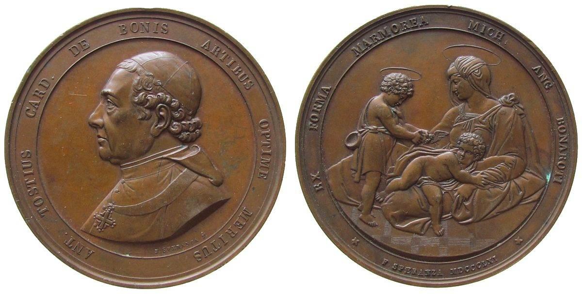 Medaille 1861 Vatikan Bronze Bonis de Anton Tostius - Kardinal, Brustbild nach links / Jungfrau Maria mit dem Jesuskind und Putte mit Taube zur linken vz