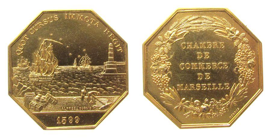 Jeton 1599 Frankreich Silber vergoldet Marseille - Chambres de Commerce et d'Industrie, Hafenanlage mit Segelschiffen, v. Dubois, ca. 35 MM, ca. 19.49 stgl