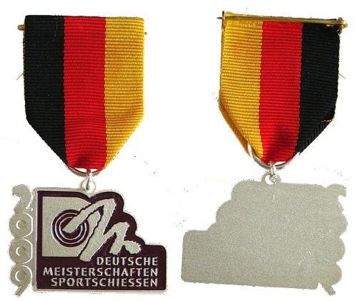 Teilnehmermedaille am Band 2009 Schützen nach 1945 -- Deutsche Meisterschaften - Sportschießen, ca. 26,5 x 41 MM vz-stgl