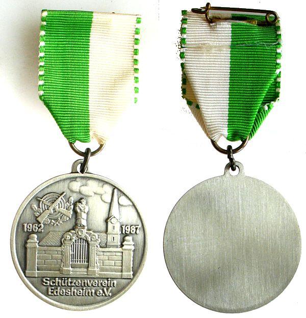 Medaille am Band 1987 Schützen nach 1945 -- Edesheim - 25 Jahrestag, ca. 41,5 MM vz-stgl