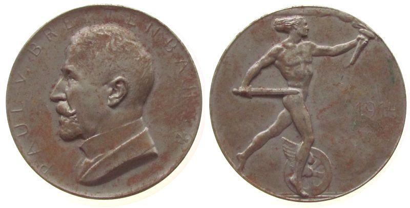 Medaille 1914 Köln Eisen Paul von Breitenbach, auf den Minister für öffendliche Arbeiten bei der königlichen Eisenbahndirektion Köln, Büste nach li vz