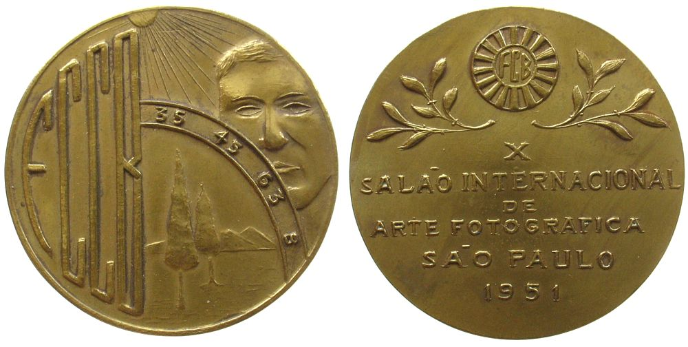 Medaille 1951 Brasilien Bronze vergoldet (?) Sao Paulo Kunstausstellung, auf die Internationale Photo - Kunstausstellung in Sao Paulo, FCCB mit Blendens vz