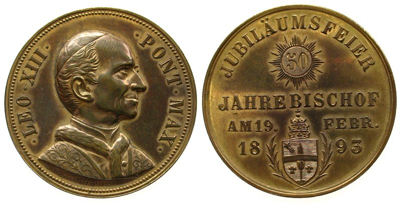 Medaille 1893 Vatikan Bronze vergoldet Leo XIII (1878-1903), auf die Jubliäumsfeier am 19. Feb. 1893, v. Schiller Stuttgart, 38,1 MM vz