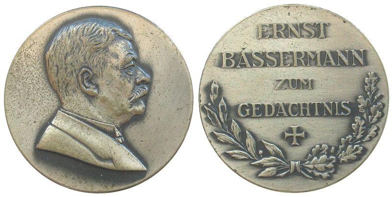 Medaille o.J. Personen Neusilber Ernst Bassermann (1854-1917), Baden-Baden, Politiker, unsigniert, 36 MM vz