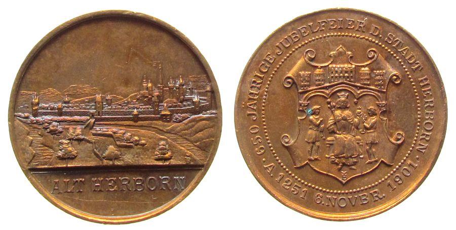 Medaille 1901 Städte Bronze Herborn (Hessen) - auf die 650 Jahrfeier, Stadtansicht / Wappen, ca. 39 MM, Fleck, feine Grafitti vz