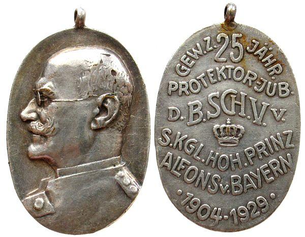 tragbare Medaille 1929 Schützen -- Prinz Alfons v. Bayern, gewidmet für das 25jährige Jubiläum von Prinz Alfons von Bayern als Protektor der Bundesschützen, ohn ss+