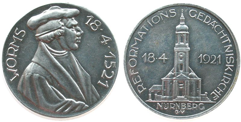 Medaille 1921 Reformation / Religion Aluminium Nürnberg, auf die Grundsteinlegung der Reformations-Gedächniskirche und die 4. Säkularfeier in Nürnberg, Brustbild Mar vz