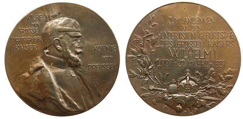 Medaille 1897 vor 1914 Bronze Wilhelm I (1861-1888), Preussen, auf seinen 100. Geburtstag, unsigniert, 39,7 MM, Tragöse entfernt vz