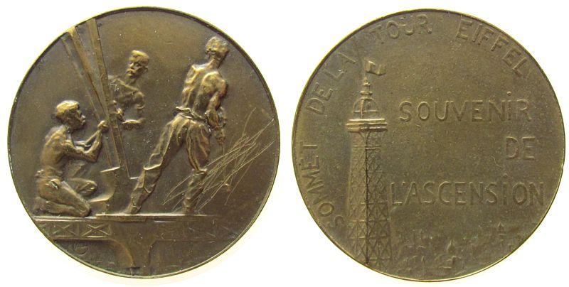 Souveniermedaille o.J. Frankreich Bronze Eiffelturm, für den erfolgreichen Aufstieg auf die 2. Etage des Eiffelturms, Arbeiter beim Bau des Eiffelturms / Spitze d ss