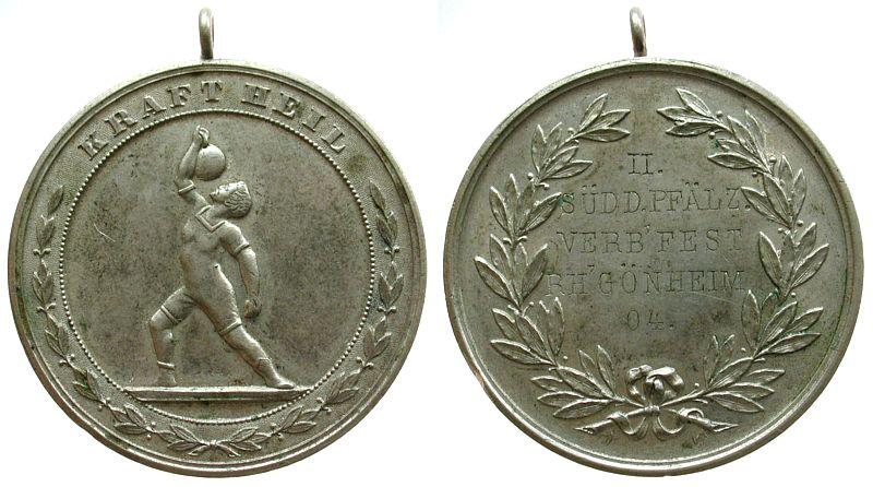 tragbare Medaille 1904 Sport Weißmetall Rheingönheim, auf das II Süddeutsch-Pfälzische Verbandsfest in Rheingönheim, Athlet mit Kugelhantel 7 Mehrzeiler (Gra vz