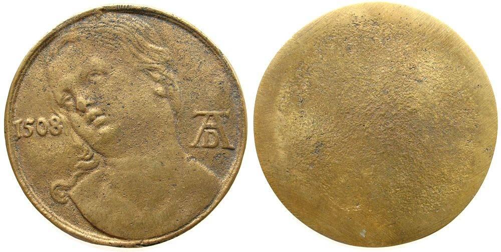 Medaille o.J. Personen helle Bronze Albrecht Dürer, sog. Lukretia, einseitig, unbekannter Dürer-Nachahmer, wahrscheinlich neuzeitlicher Guß, 53 MM, erh vz