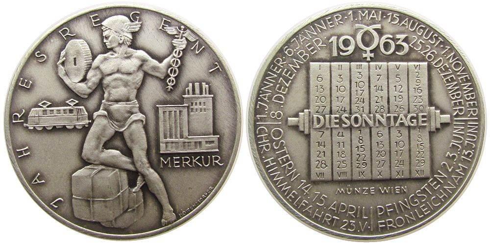 Medaille 1963 Kalendermedaille Silber Merkur, v. Köttenstorfer, ca. 40 MM, ca. 25,26 Gramm, mattiert, Rand: A900 vz-stgl