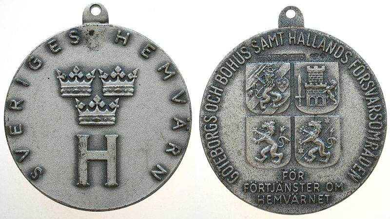 tragbare Medaille o.J. Schweden Weißmetall auf die Bürgerwehr, 33,2 MM vz
