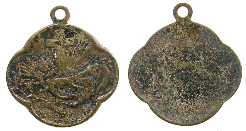 Medaillon o.J. Wallfahrt Silber von Strahlen umgebenes Kreuz, ca. 25 x 27,2 MM ss