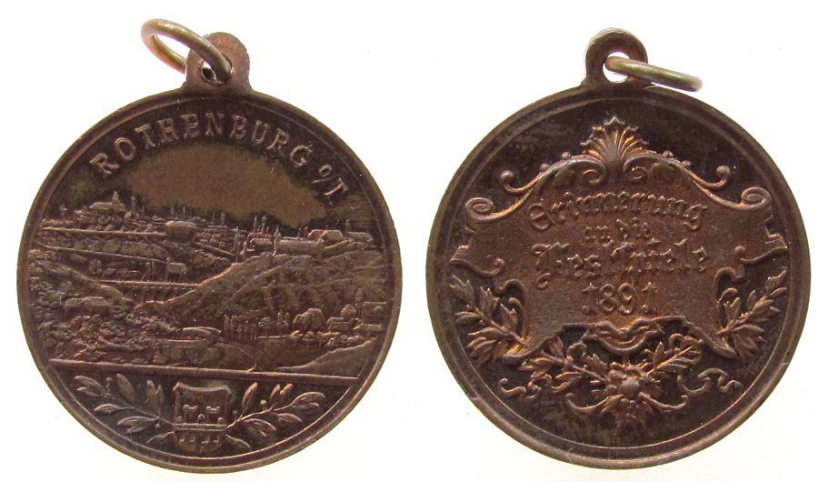 tragbare Medaille 1891 Städte Bronze Rothenburg (Tauber) - Erinnerung an die Festspiele, Stadtansicht über Wappen / Schrift, ca. 27,2 MM, Restevergoldung vz