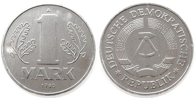 1 Mark 1980 DDR Al A, Berlin, Export stgl