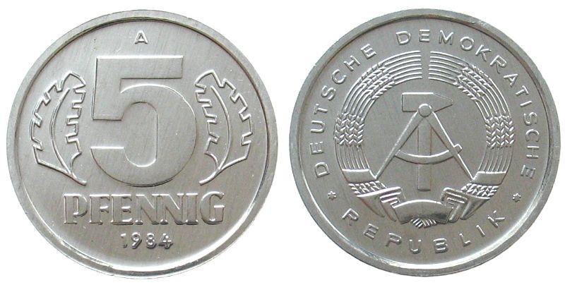 5 Pfennig 1984 DDR Al A, Berlin, Export stgl