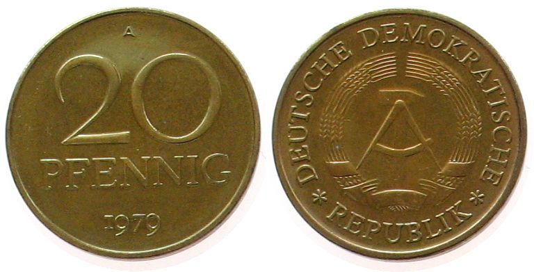 20 Pfennig 1979 DDR Messing A, Berlin, Export stgl