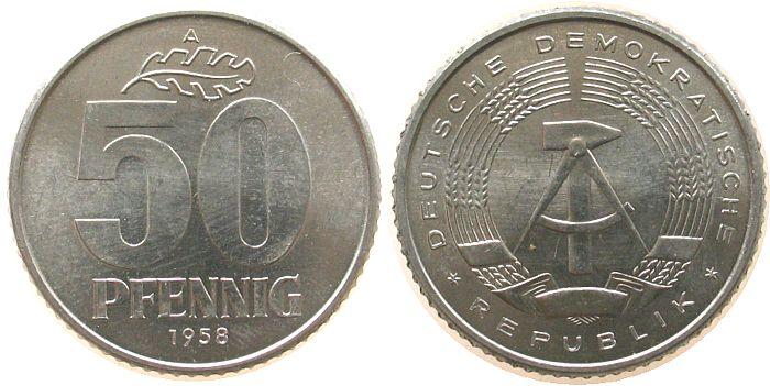 50 Pfennig 1958 DDR Al A, Berlin stgl