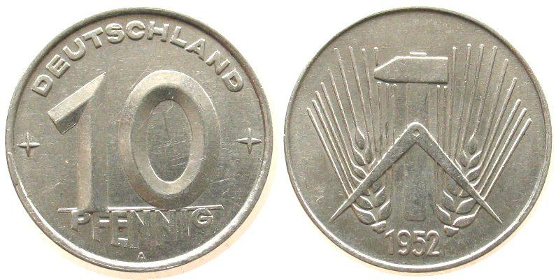 10 Pfennig 1952 DDR Al A, Berlin vz