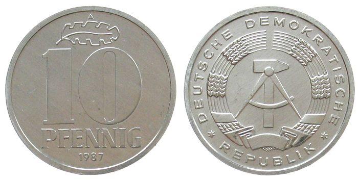 10 Pfennig 1987 DDR Al A, Berlin, Export stgl