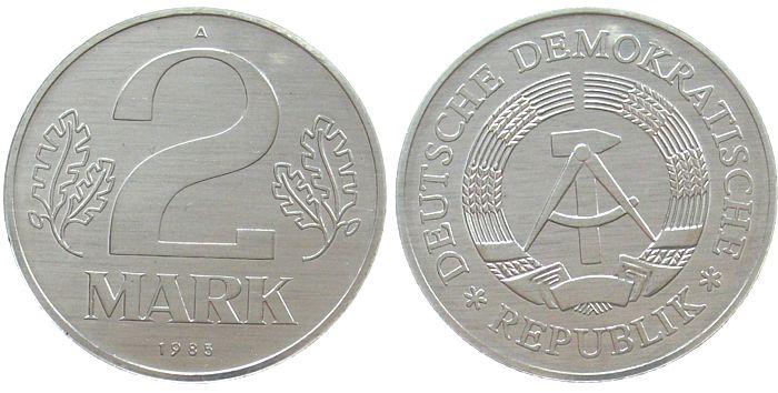 2 Mark 1985 DDR Al A, Berlin, Export vz-stgl