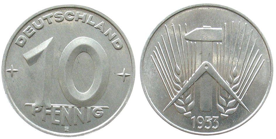 10 Pfennig 1953 DDR Al E, Muldenhütten, winziger Schrötlingsfehler fast stgl