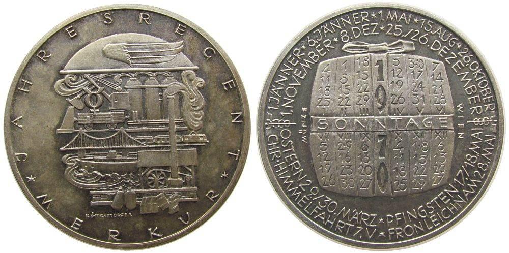 Medaille 1970 Kalendermedaille Silber Merkur, v. Köttenstorfer, ca. 40 MM, ca. 25,01 Gramm, Rand: A900, etwas Patina vz-stgl