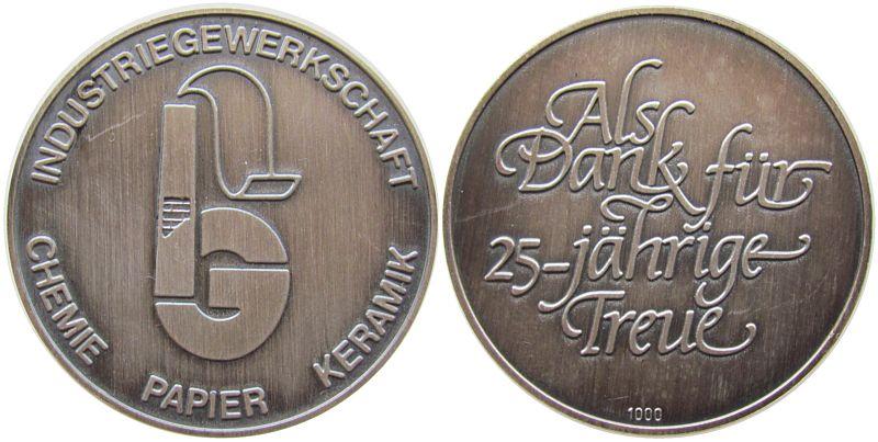 Medaille o.J. Gelegenheitsmedaillen Silber Industriegewerkschaft Chemie Papier Keramik, als Dank für 25 jährige Treue, ca. 35 MM, ca. 14.98 Gramm vz