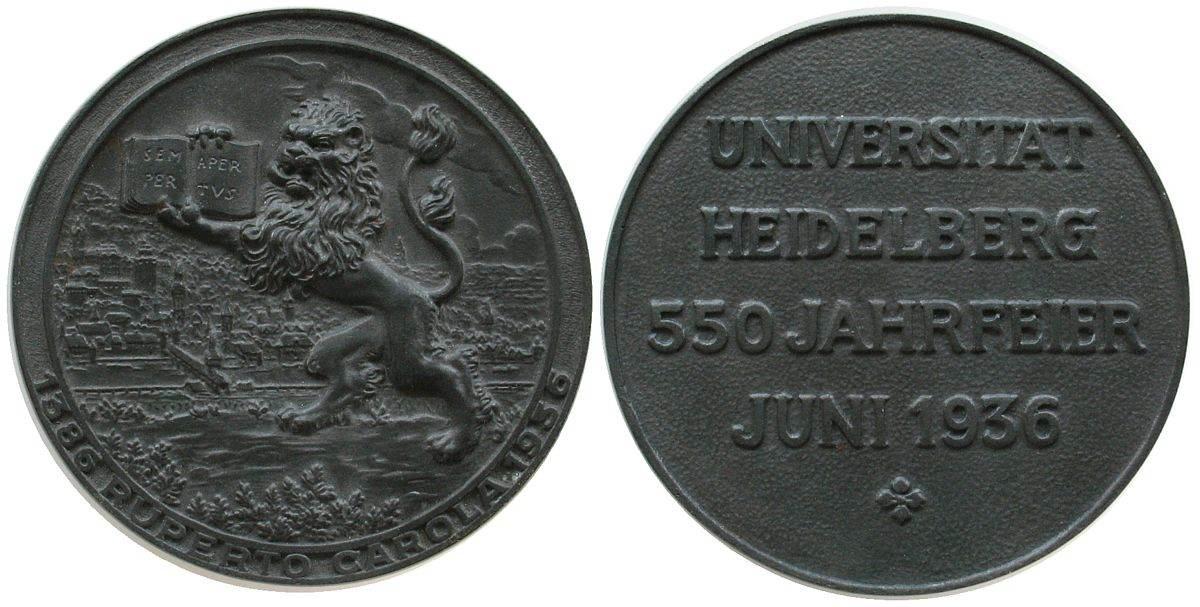 Gußmedaille 1936 Heidelberg Eisen Heidelberg, auf die 550 Jahrfeier der Universität, Löwe vor Stadtansicht / Schrift, unsigniert, 73,7 MM gußfrisch