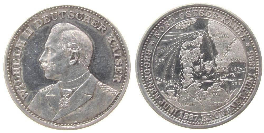 Medaille 1895 vor 1914 Silber Wilhelm II (1888-1918), Preussen, auf die Nord-Ostsee-Kanal Eröffnungsfeier, Brustbild nach links / Landkarte von Schlesw vz+