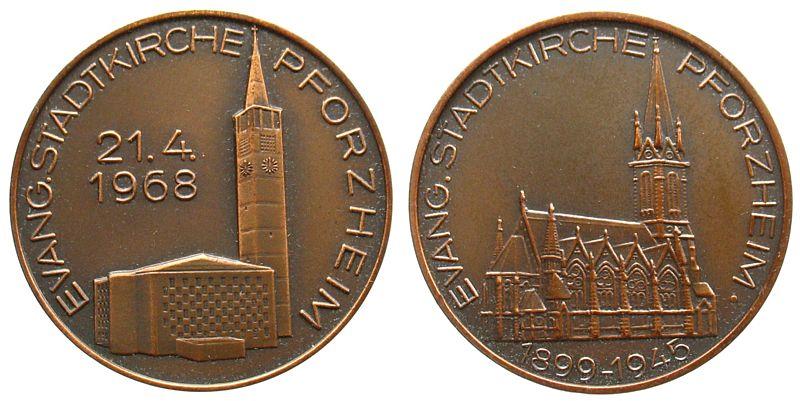 Medaille 1968 Städte Bronze Pforzheim Evangelische Kirche, Kirche 1968 / Kirche 1899-1945, v. B.H. Mayer - Pforzheim, ca. 30 MM vz