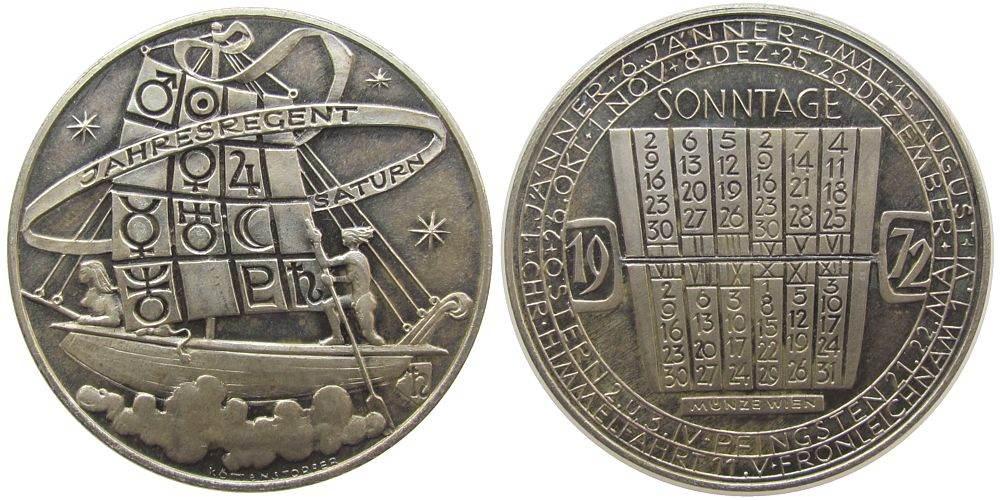Medaille 1972 Kalendermedaille Silber Saturn, v. Köttenstorfer, ca. 40 MM, ca. 25,33 Gramm, Rand: A900, Patina vz-stgl