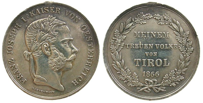 Medaille 1866 Franz Josef I 1848 1916 Silber Franz Joseph I 1848