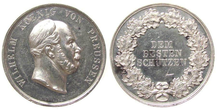 Medaille o.J. Schützen Silber Wilhelms I. - dem besten Schützen, Büste nach rechts / Mehrzeiler im Kranz, v. Weigant, ca. 34,5 MM, ca. 29.4 Gramm ss