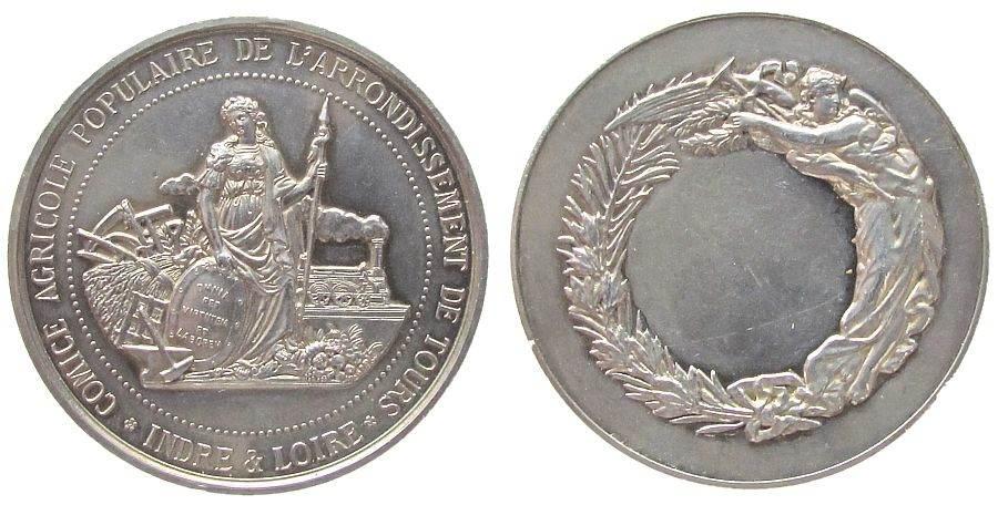 Preismedaille o.J. Frankreich Silber Tours - Landwirtschaft, stehende Frau mit Schild und Speer - landwirtschaftliche Erzeugnisse - Gerätschaften und Eisenbah vz