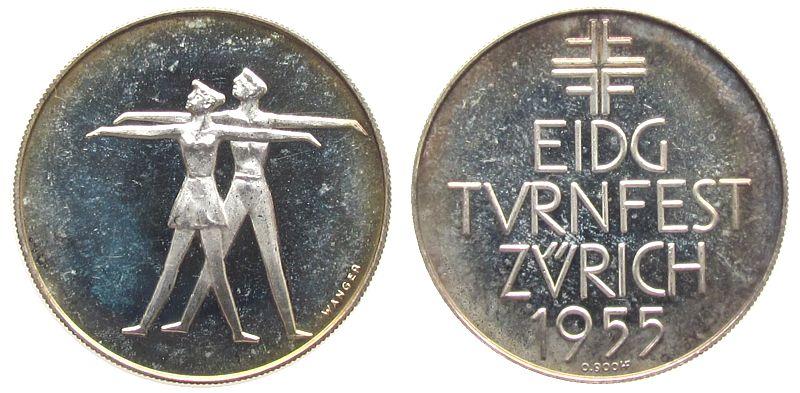 Medaille 1955 Schweiz Silber Zürich - auf das Eidgenössische Turnfest, zwei Turner / Mehrzeiler, v. Wanger, ca. 33,5 MM, ca. 15,02 Gramm, Patina vz