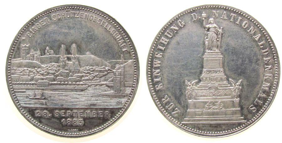 Medaille 1883 Schützen Bronze versilbert Bingen - Schützengesellschaft, Erinnerung an das Nationaldenkmal, Stadtansicht / Nationaldenkmal, v. Lauer, ca vz