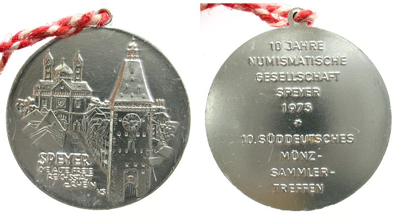 Medaille 1975 Speyer Alumimium Speyer 10 Süddeutsches Münzsammlertreffen, ca. 34,4 MM vz-stgl