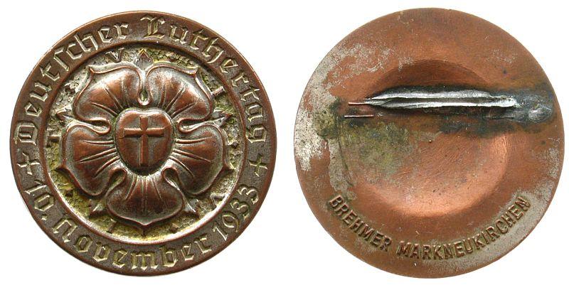 Brosche 1933 Reformation / Religion Kupfer versilbert Deutscher Luthertag November 1933, Lutherrose, entfernte Nadel, ca. 34,5 MM ss
