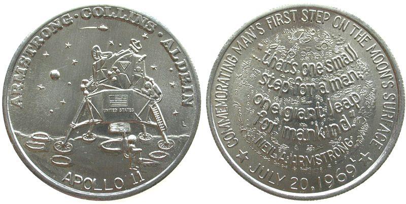 Medaille 1969 USA Aluminium Mondlandung Apollo 11, ca. 39,2 MM vz-stgl