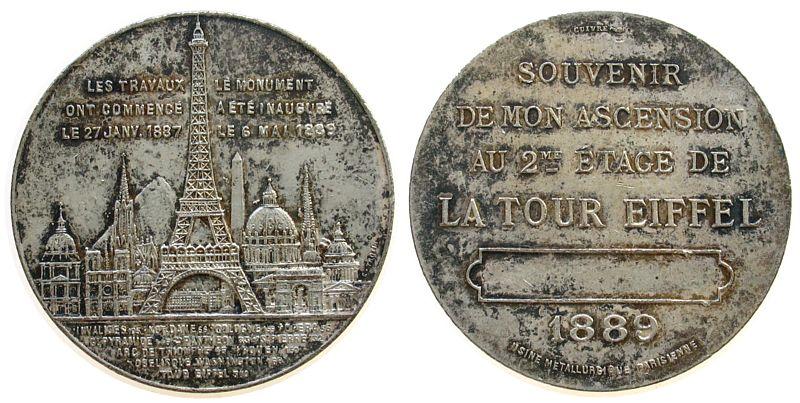Souveniermedaille 1889 Frankreich Bronze versilbert Eiffelturm, für den erfolgreichen Aufstieg auf die 1. Etage des Eiffelturm, Panorama mit dem Eiffelturm / Mehr ss-vz
