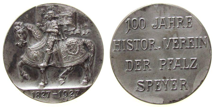 tragbare Medaille 1927 Speyer Neusilber Speyer - zum 100jährigem Bestehen des Historischen Vereins, Bannerträger zu Pferde / Mehrzeiler, entfernte Öse, ca. 32 vz