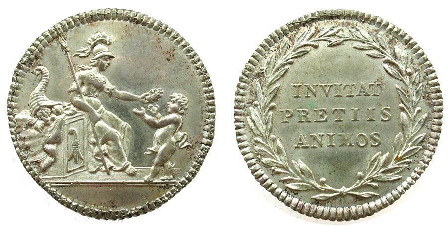 Schulprämie o.J. (1779) Schweiz -- Basel, Minerva mit Lanze nach rechts einen Genius bekränzend / Schrift im Lorbeerkranz - INVITAT PRETIIS ANIMOS, unsigniert ( fast stgl
